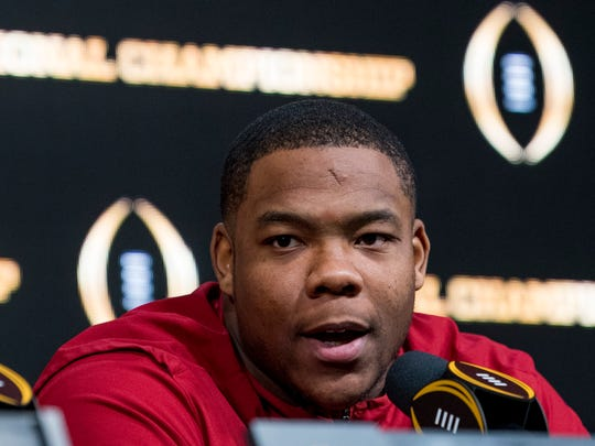 Alabama defensive lineman Da'Ron Payne (94) speaks in Atlanta, Ga., on Tuesday January 9, 2018, during a press conference the day after winning the College Football Playoff National Championship.