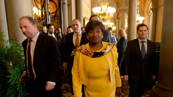Senate Democratic Conference Leader Andrea Stewart-Cousins, D-Yonkers, and fellow Senate Democrats walk out of a legislative session in the Senate Chamber at the Capitol on Wednesday.