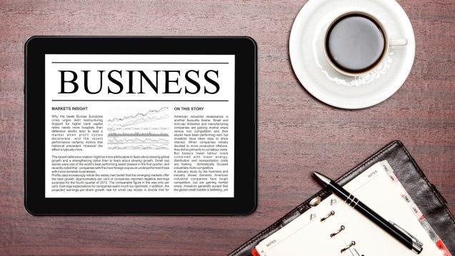 Business News on digital tablet.