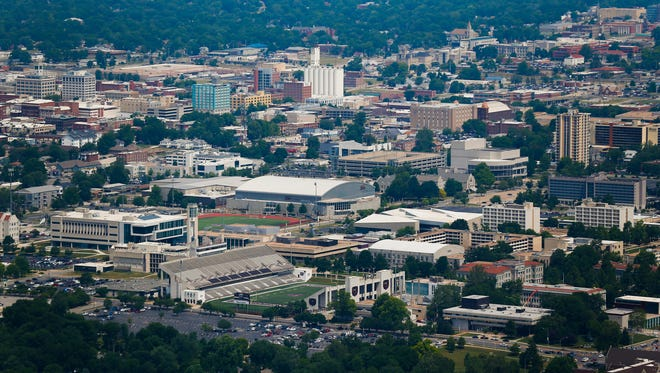 MSU and downtown from the air on Friday, June 9, 2018.