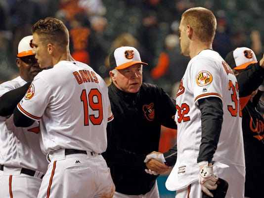 Baltimore Orioles manager Buck Showalter, center, shakes hands with Matt Wieters after an opening day baseball game against the Minnesota Twins in Baltimore, Monday, April 4, 2016. Wieters batted in the game-winning run in the ninth, and Baltimore won 3-2. (AP Photo/Patrick Semansky)