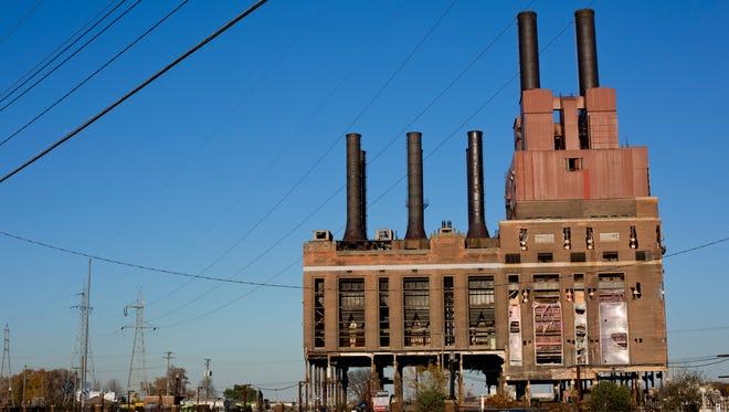 The former DTE power plant pictured Wednesday, November 4, 2015 in Marysville. The structure will be imploded at 8 a.m. Saturday.