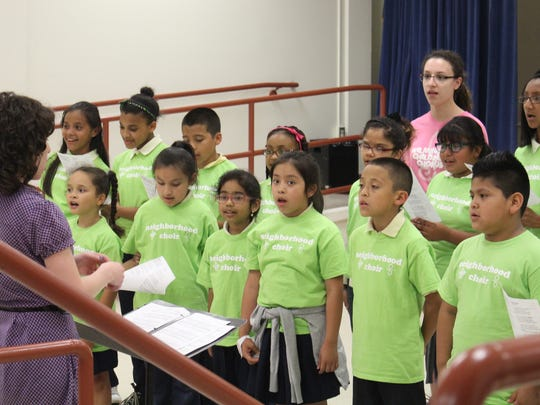 Students participate in one of OperaDelaware's Neighborhood Choirs.