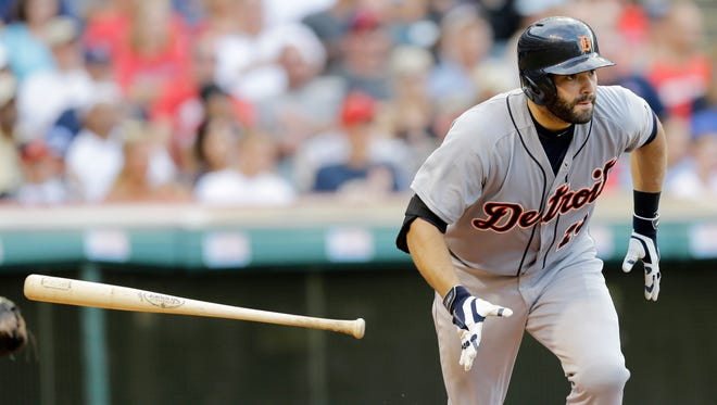 Detroit Tigers catcher Alex Avila watches his RBI single against the Cleveland Indians on Sept. 1, 2014, in Cleveland.