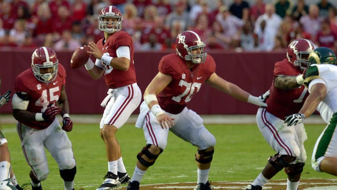 Alabama, quarterbacked by A.J. McCarron (10) has the best score in the Sagarin Ratings this week in addition to a strong hold on the No. 1 spot in the polls.