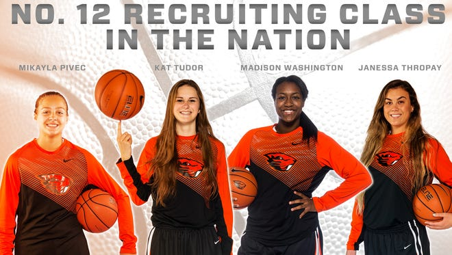 OSU women's basketball recruits: From left: Mikayla Pivec, Kat Tudor, Madison Washington and Janessa Thropay