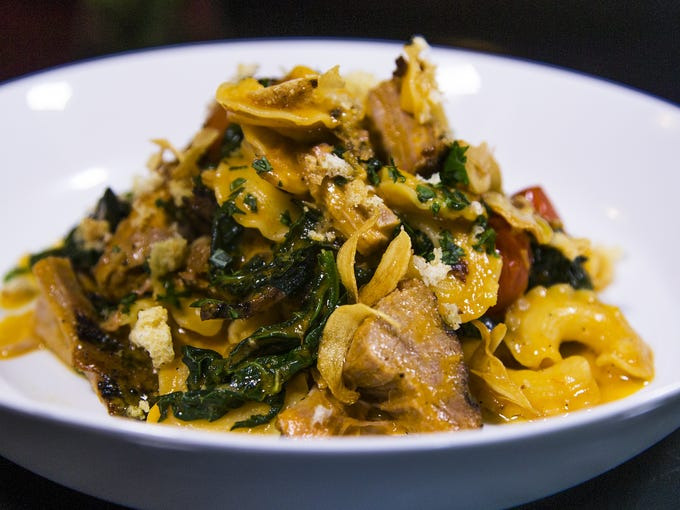The creste di gallo pasta served at the Ocotillo restaurant