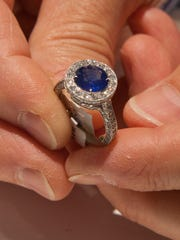 A custom-made sapphire ring at Simone's Jewelry in Monmouth Mall, Eatontown.