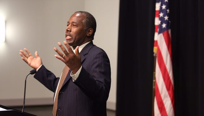 Presidential hopeful Ben Carson speaks to the media at the Sharonville Convention Center.