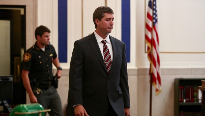 Ray Tensing enters the courtroom for Friday's pre-trial hearing.