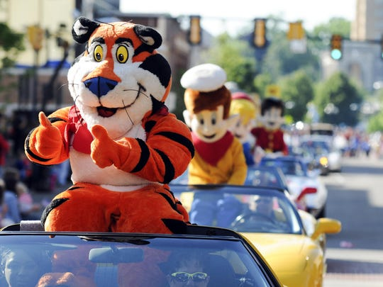 Tony the Tiger and company during the Cereal City Festival Parade.