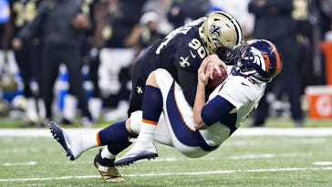 Nick Fairley (90), who spent his first four seasons in Detroit, collected 6.5 sacks this past season for New Orleans.