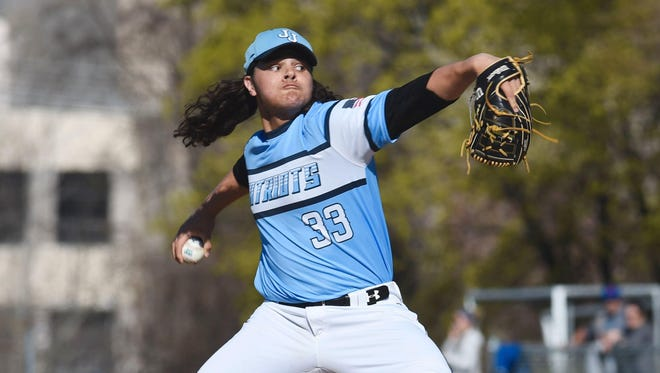 John Jay's Trent Valentine delivers a pitch during a 1-0 victory against Arlington.