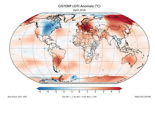 The Earth had its 3rd-warmest April on record, both NOAA and NASA said. Red areas are warmer-than-average. North America was the one part of the world that saw unusually cool temperatures in April.