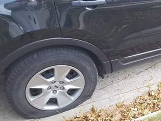Slashed tires