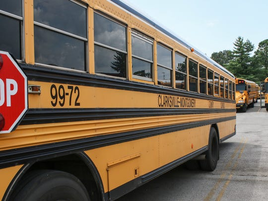 School buses sit at the Clarksville-Montgomery County
