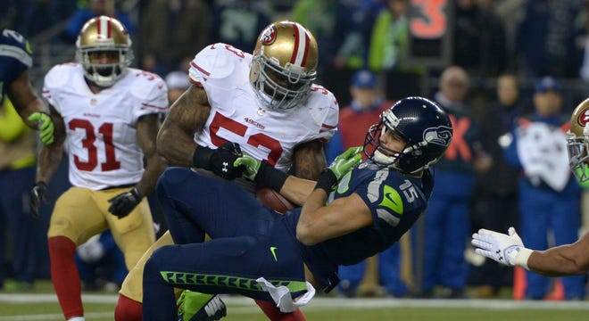 49ers LB NaVorro Bowman was not given credit for this fumble recovery in last season's NFC Championship Game.