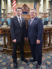 Andrew Beardslee, left, was Sen. Mike Nofs' guest for Gov. Rick Snyder's State of the State address Tuesday night. Beardslee is a Marshall native who joined Nofs' office last year after graduating from Grand Valley State University.