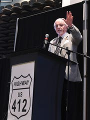 Dick Trammel, chairman of the Arkansas State Highway Commission, talks Wednesday about potential improvements on U.S. Highway 412.