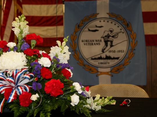 A display was set on the podium Saturday at VFW Post 6496. The day recognized veterans of the Korean War.