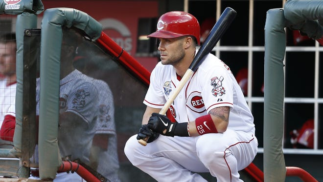 Skip Schumaker waits to go on deck during a game against the Milwaukee Brewers at Great American Ball Park.