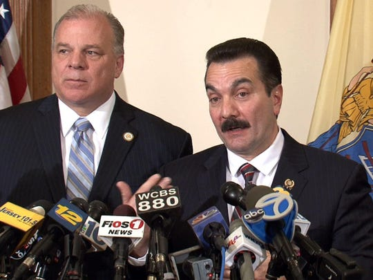 Senate President Stephen Sweeney (left) and Assembly Speaker Vincent Prieto have until Thursday to pass a proposed constitutional amendment requiring the state make quarterly pension payments.