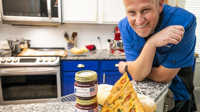 Chef Mark Davison, owner of We're Jammin', was making focaccia bread, Italian loafs and raspberry jam at his home on Tuesday. Davidson is one of the partners in the Brick City Farmers Market, which will hold its inaugural market on Thursday.