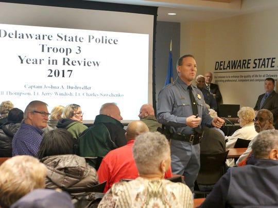 Delaware State Police Troop 3 commander Capt. Joshua Bushweller addresses the more than 75 people who came out Thursday evening to hear the troop's 2017 year in review presentation.
