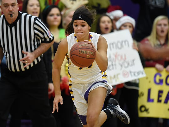Jayden Laurent was the third-leading scorer (7.8 points per game) on the Denmark girls basketball team as a sophomore last season. The 5-foot-7 forward is shown during a 74-69 victory over Wrightstown on Dec. 17, 2015.