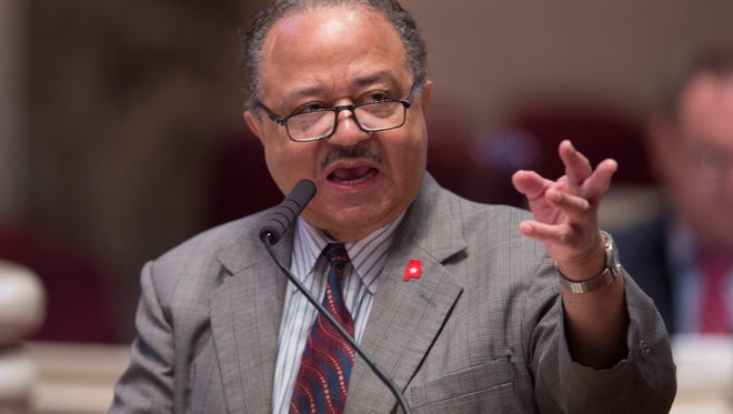 Rep. Alvin Holmes, D-Montgomery, speaks during the special legislative session inside the Alabama State House on Monday, Aug. 10, 2015, in Montgomery, Ala.