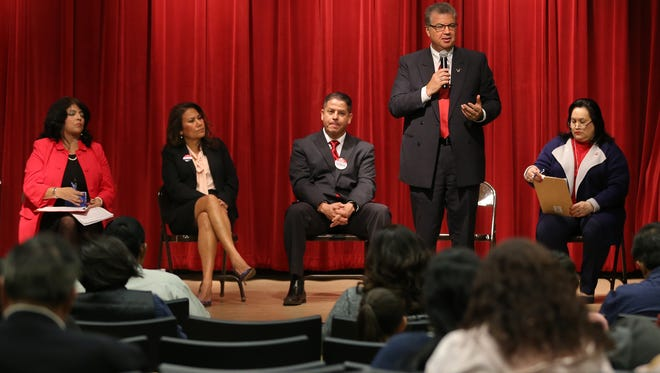 Candidates for U.S. Congress District 16 field questions during a candidate forum hosted by the Border Network for Human Rights Saturday at the Main Library in downtown El Paso. The candidates who participated are, from left, Norma Chavez, Veronica Escobar, Enrique Garcia, Rick Seeberger and Alia Garcia-Ureste.