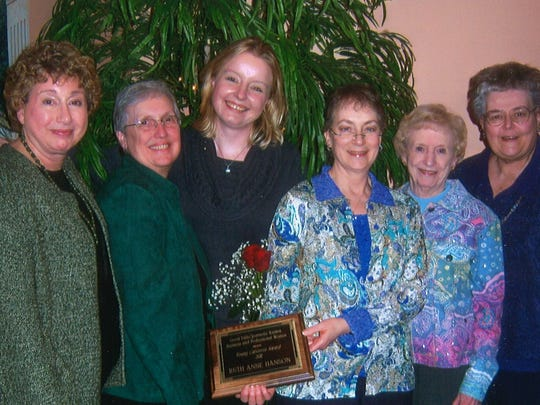 Members of the Great Falls Chapter of Business and Professional Women present the Young Careerist Award to Ruth Anne Hanson, third from left, in March 2011. The members are, from left, Penny Huntsberger, Jan Dobb, Cande Ricke, Vi Stahlecker and Regina Larson.