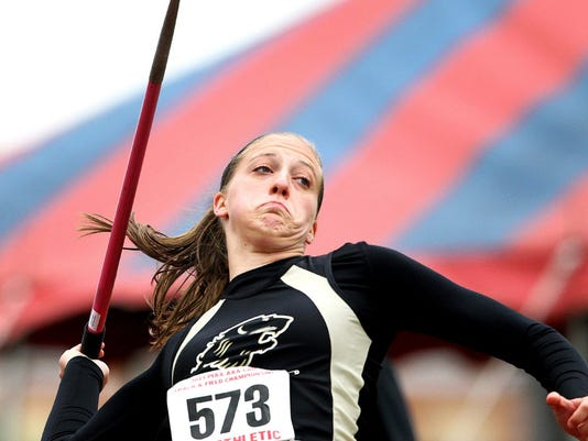 Red Lion's Amanda Myers throws the javelin at the 2013 PIAA championships ... GameTimePA.com file.
