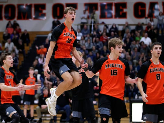 Kaukauna High School's Austyn Bella leaps in the air after an official calls his hit out of bounds during their sectional championship match against Appleton North High School Thursday, Nov. 2, 2017, in Kaukauna, Wis. 