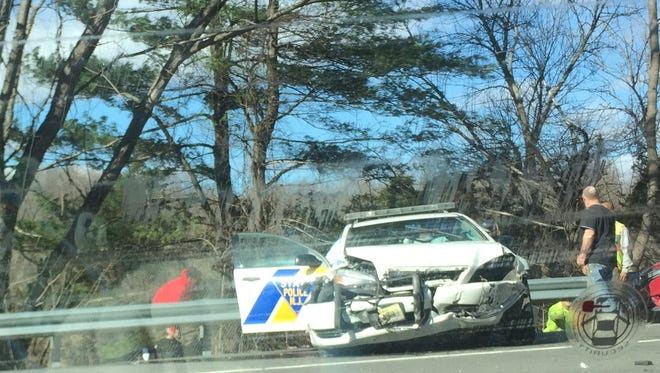 A New Jersey State Trooper vehicle shows serious damage after an accident on Route 80 in Knowlton.