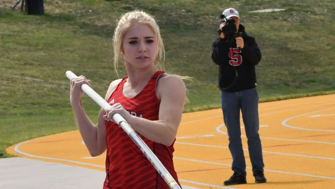 Sonora High School's Lane Cahill lines up to compete in the girls pole vault earlier this season.
