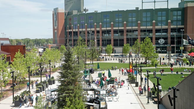Central pedestrian plaza at the Summer Fun Days Showcase Saturday, June 2, 2018 at the Titletown District in Ashwaubenon, Wis.
