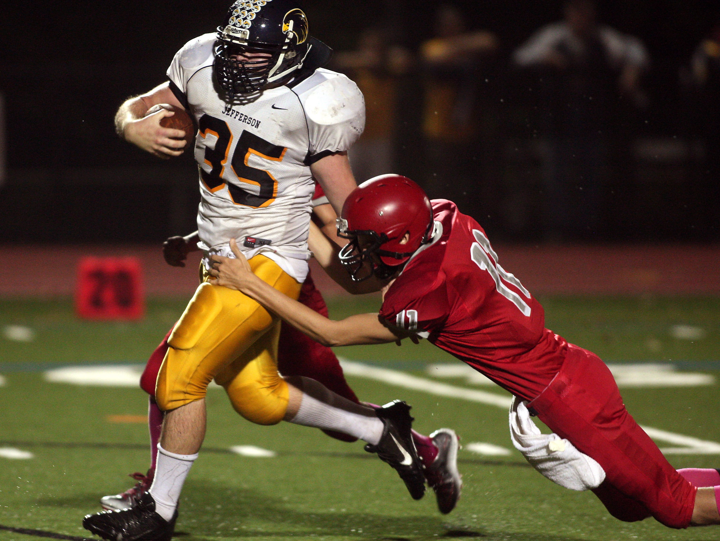 Jefferson linebacker Avery Sheruda barrels to the Parsippany 4-yard-line after picking up a Red Hawk fumble in a Friday night football matchup. October 9, 2015, Parsippany, NJ.