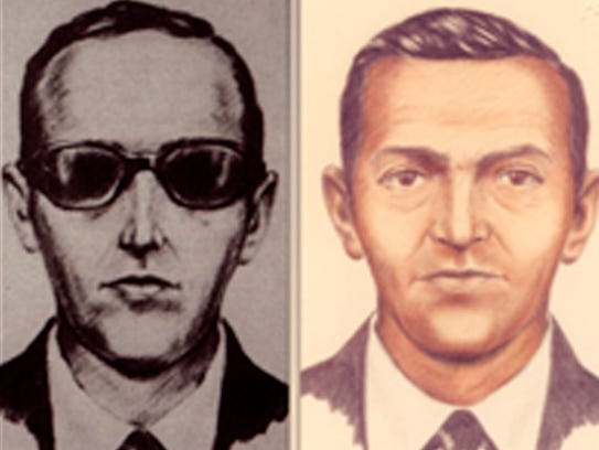 Accused skyjacker D.B. Cooper is shown in these FBI