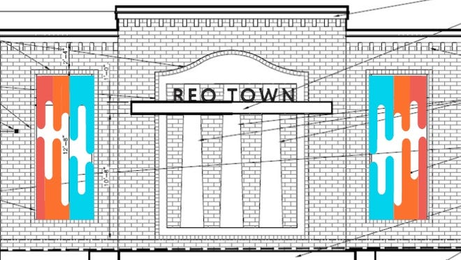 Michigan Imagery provided this preliminary sketch showing two sections of a mural that will adorn the Lansing Board of Water & Light central substation at W. Malcolm X Street and S. Washington Ave. in REO Town. The mural's color scheme has yet to be determined.