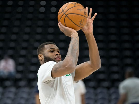 Kadeem Allen (45) warms up for the Celtics before a