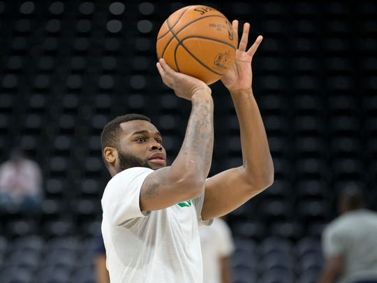 Kadeem Allen (45) warms up for the Celtics before a