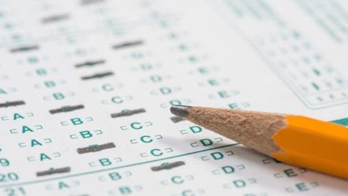 Pencil on standardized test sheet