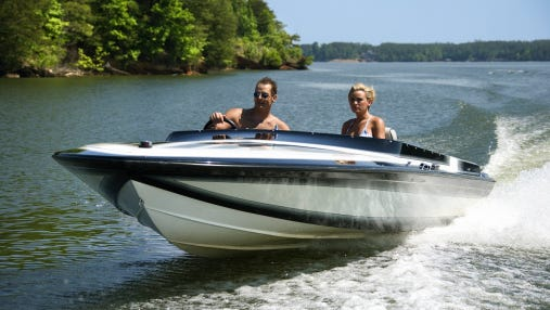 Couple in speedboat