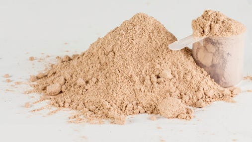 Stock image of protein powder.