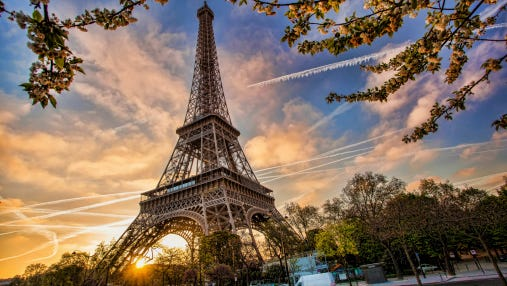 Eiffel Tower during spring time in Paris, France.