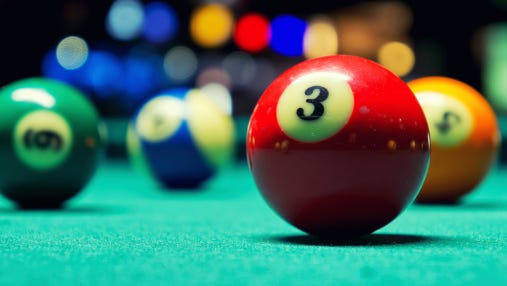 Stock image of billiard balls.