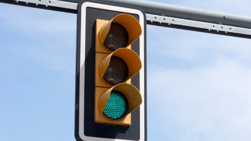 Stock image of a traffic light