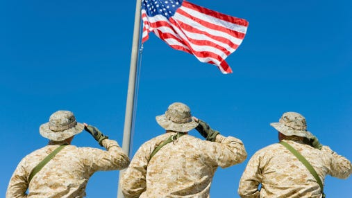 Soldiers Saluting Flag