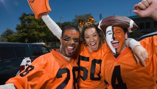 Cheering football fans